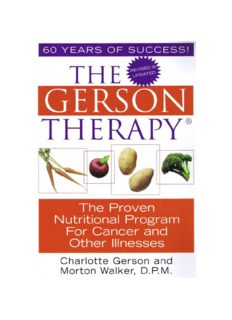 The Gerson Therapy by Charlotte Gerson and Morton Walker