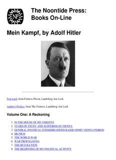 Mein Kampf, by Adolf Hitler