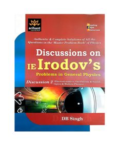 Optics Discussions on I E Irodov solutions Problems in General Physics by D B Singh Arihant