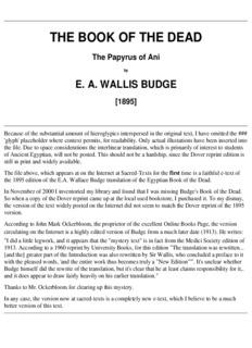 E.A. Wallis Budge – Egyptian Book Of The Dead