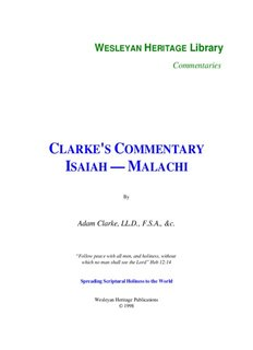 Clarke's Commentary - Isaiah - Malachi - Enter His Rest