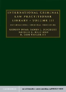 International Criminal Law Practitioner Library: International Criminal Procedure
