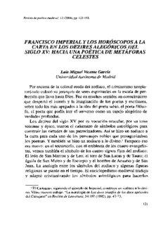 Francisco Imperial y los Horóscopos a la Carta en los Dezires Alegóricos del Siglo XV. Hacia una