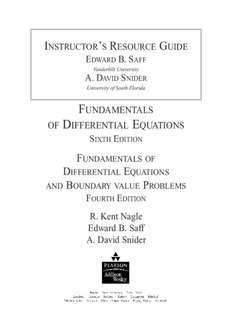 FUNDAMENTALS OF DIFFERENTIAL EQUATIONS R. Kent Nagle