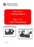 Lathe Series Training Manual Haas CNC Lathe Programming