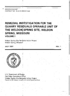 remedial investigation for the quarry residuals operable unit of the weldon spring site weldon ...