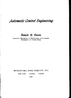 Automatic Control Engineering by Francis H. Raven