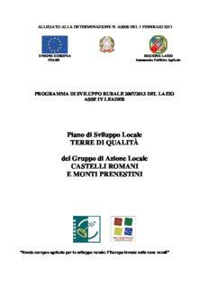 Piano di Sviluppo Locale TERRE DI QUALITÀ del Gruppo di Azione Locale CASTELLI ROMANI E