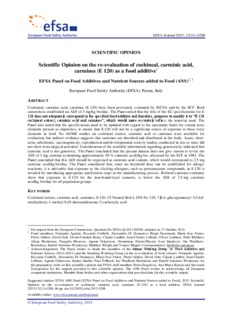 Scientific Opinion on the re-evaluation of cochineal, carminic acid, carmines