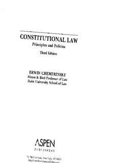 Constitutional Law: Principles And Policies (Introduction to Law Series)