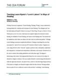 "Teaching Laura Kipnis's ""Love's Labors"""