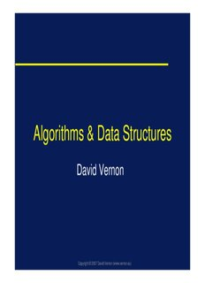 Algorithms & Data Structures - David Vernon