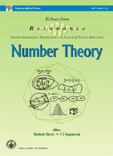Number Theory by Shailesh Shirali echoes from Resonance Selected Articles C S Yogananda Universities Press