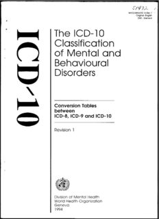 The ICD-10 Classification of Mental and Behavioural Disorders: Conversion Tables between ICD-8, ICD-9 and ICD-10