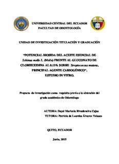 POTENCIAL BIOSIDA DEL ACEITE ESENCIAL DE Schinus molle L. (Molle) FRENTE AL