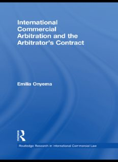 International Commercial Arbitration and the Arbitrator's Contract (Routledge Research in International Commercial Law)