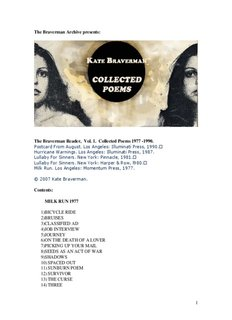 The Collected Poems of Kate Braverman