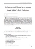 An Instructional Manual to accompany Natalie Babbitt's «Tuck