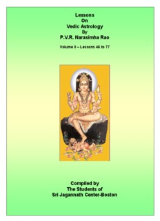 Lessons On Vedic Astrology P.V.R. Narasimha Rao Compiled by