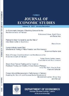 forman journal of economic studies - FCC - Forman Christian College