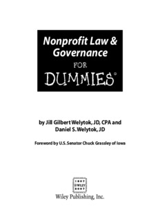 Nonprofit Law & Governance For Dummies.