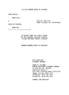 IN THE SUPREME COURT OF FLORIDA COREY SMITH, Appellant, v. Case No. SC05-703 Lower ...