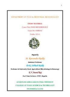 Food Microbiology - acharya ng ranga agricultural university