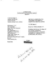 Anniston Lead Site and Anniston PCB Site Administrative Order on Consent for Removal Action