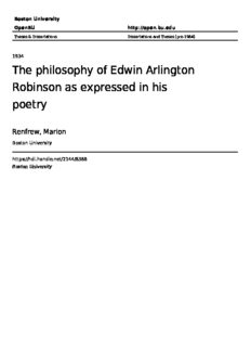 The philosophy of Edwin Arlington Robinson as expressed in his poetry