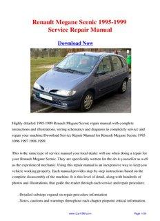Download 1995-1999 Renault Megane Scenic Workshop Manual