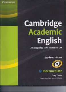 Cambridge Academic English. An Integrated Skills Course for EAP. Student's Book. Intermediate