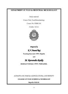 Food Biotechnology - acharya ng ranga agricultural university