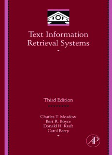 Text Information Retrieval Systems, Third Edition (Library and Information Science) (Library and Information Science) (Library and Information Science)