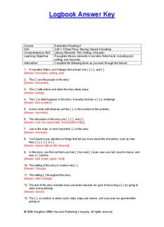 Logbook Answer Key - Houghton Mifflin Harcourt