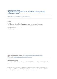 William Stanley Braithwaite, poet and critic