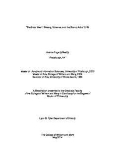 Slavery, Violence, and the Stamp Act of 1765 Joshua Fogarty Beatty Plattsburgh, NY Master of ...