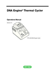 DNA Engine® Thermal Cycler Operations Manual