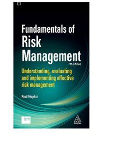Fundamentals of risk management understanding, evaluating and implementing effective risk management