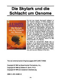 Die Skylark und die Schlacht um Osnome. Zweiter Roman des Skylark- Zyklus.