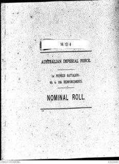 Page 1 Page 2 AUSTRALIAN IMPERIAL FORCE. NOMINAL ROLT. . - 1st PioneBR BATTALION ...