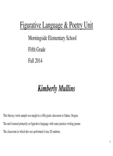 Figurative Language & Poetry Unit Kimberly Mullins