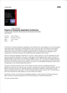 Patterns of Enterprise Application Architecture Patterns of Enterprise Application Architecture