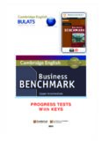 Cambridge English. Business Benchmark Progress Tests - Upper-Intermediate with Keys