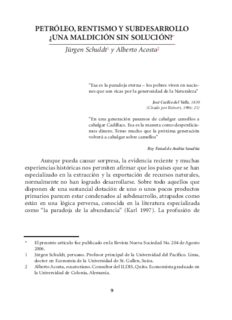 Schuldt Acosta Petroleo, Rentismo y Subdesarrollo 2009