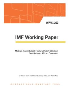 Medium-Term Budget Frameworks in Sub-Saharan Africa, WP/17/203, September 2017