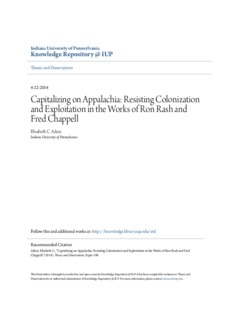 Capitalizing on Appalachia: Resisting Colonization and Exploitation in the Works of Ron Rash and ...