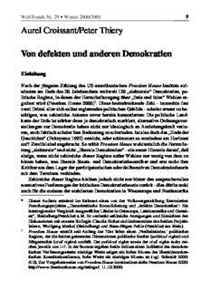 Aurel Croissant/Peter Thiery Von defekten und anderen Demokratien