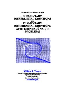 Student Solutions Manual for Elementary Differential Equations and Elementary Differential Equations with Boundary Value Problems