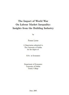 The Impact of World War On Labour Market Inequality - Ronan Lyons