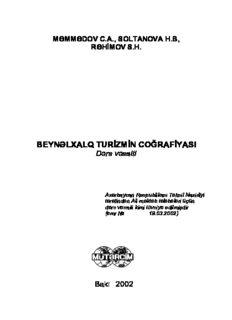 Page 1 MƏMMƏDOV C.A., SOLTANOVA H.B, RƏHİMOV S.H. BEYNƏLXALQ TURİZMİN